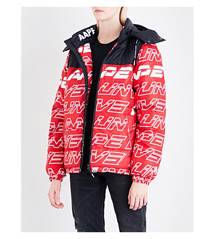 AAPE Logo-print hooded shell-down jacket (Rdx