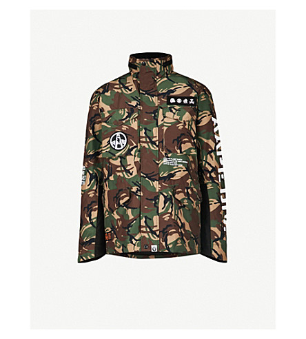 AAPE Removable-gilet padded shell jacket (Green+camo