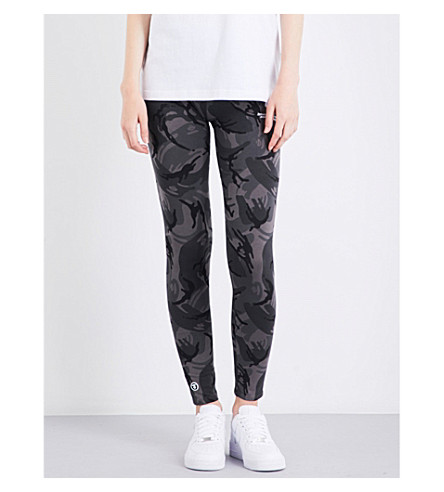 AAPE Camouflage-print skinny high-rise stretch-jersey jogging bottoms (Black+camo