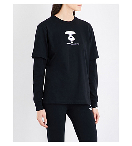 AAPE Layered cotton-jersey top (Black