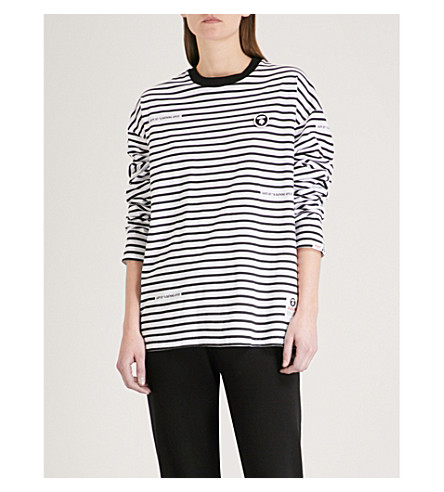 AAPE Neo Rock striped cotton-jersey top (Black
