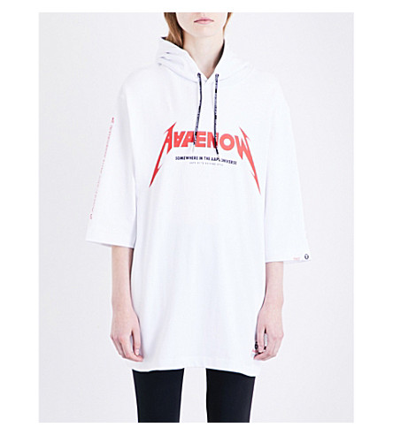 AAPE New rock cotton-jersey hoody (White