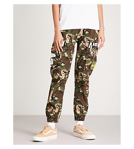 AAPE Camouflage-print cotton trousers (Green