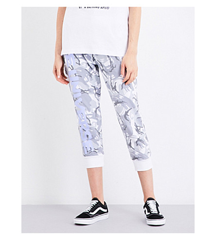 AAPE Camouflage-print cropped cotton-jersey jogging bottoms (White+camo