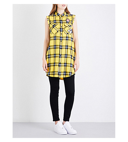 AAPE Neo Rock check-pattern cotton shirt (Yellow+navy+grid