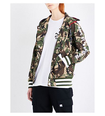 AAPE ABC camouflage and American flag-print jersey hoody (Grz