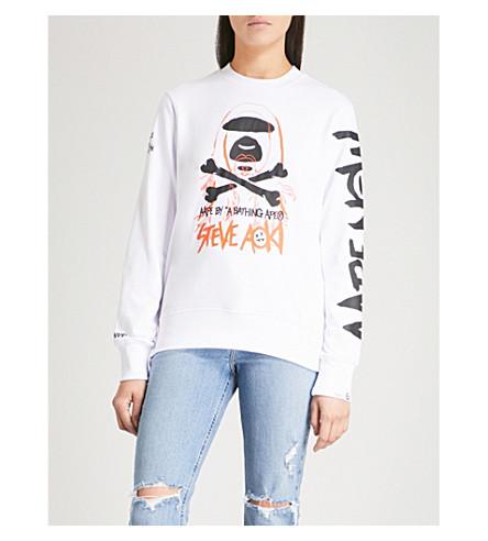 AAPE AAPE x Steve Aoki cotton-blend sweatshirt (White