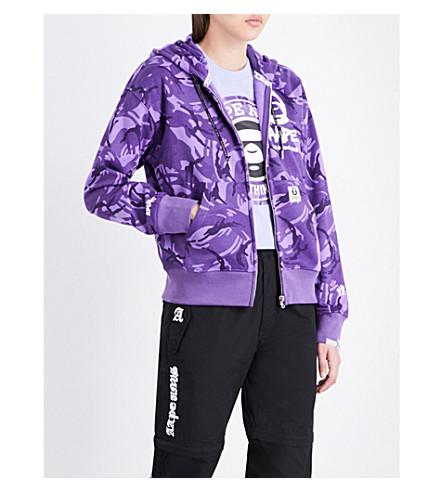 AAPE Camouflage-print jersey hoody (Purple+camo