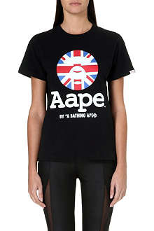 AAPE I.T UK flag moon face t-shirt