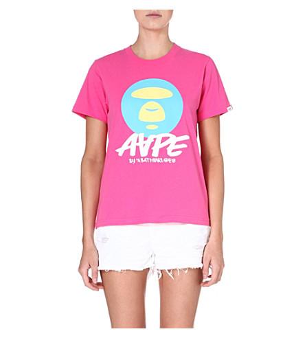 AAPE Moonface printed t-shirt (Pink