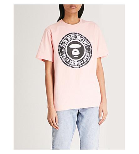 AAPE Logo-print cotton-jersey T-shirt (Pink
