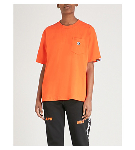 AAPE徽标-印花棉 t恤衫 (橙色
