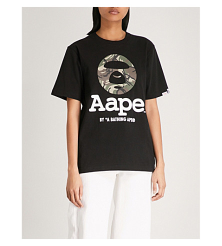 AAPE Logo-print cotton-jersey T-shirt (Black