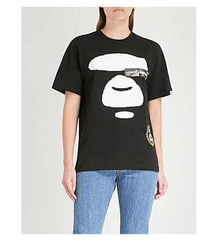 algodón de de negra AAPE punto estampada Camiseta xwHqEq