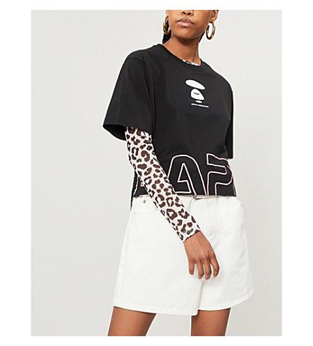 AAPE Logo-print cotton-jersey T-shirt (Black