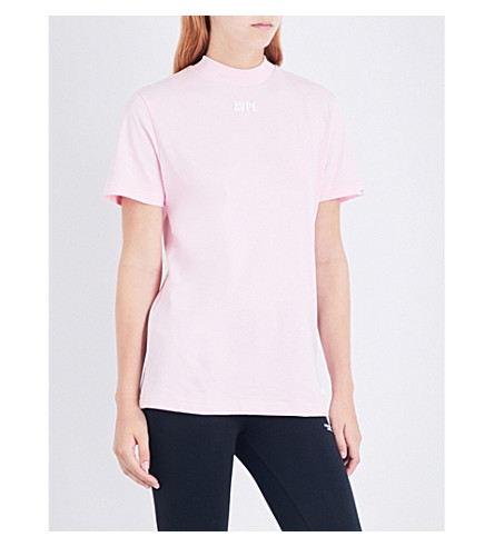 AAPE Logo-embroidered mock neck cotton-jersey T-shirt (Pink