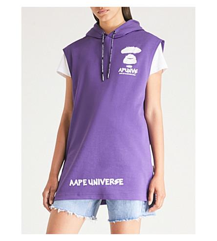 AAPE Branded sleeveless cotton-jersey hoody (Purple