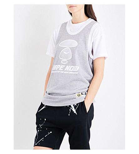 AAPE Logo-print sleeveless cotton-jersey top (Grey