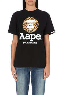 AAPE I.T Leopard-print moon face t-shirt