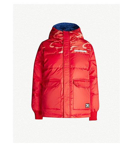 CHOCOOLATE Reversible camouflage-panel down-blend shell jacket (Red