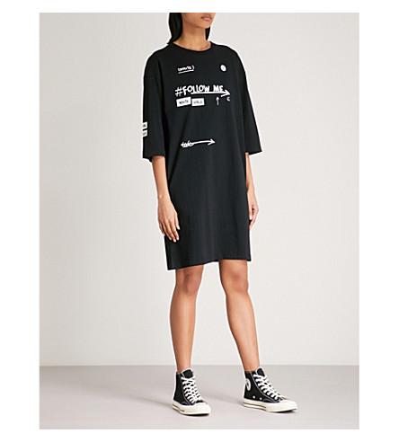 CHOCOOLATE Printed cotton-jersey dress (Black