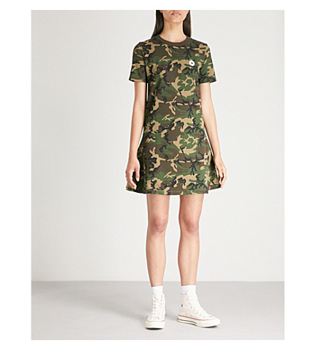 CHOCOOLATE Camouflage-print cotton-jersey mini dress (Camo