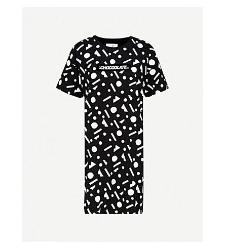 CHOCOOLATE Logo-print cotton-jersey T-shirt dress (Black