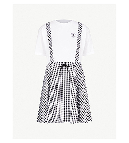 CHOCOOLATE Gingham-print drawstring-waist cotton dress (Black