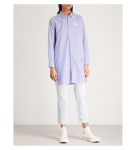 CHOCOOLATE Striped cotton shirt dress (Blue