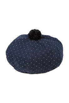 CHOCOOLATE I.T denim polka dot beret