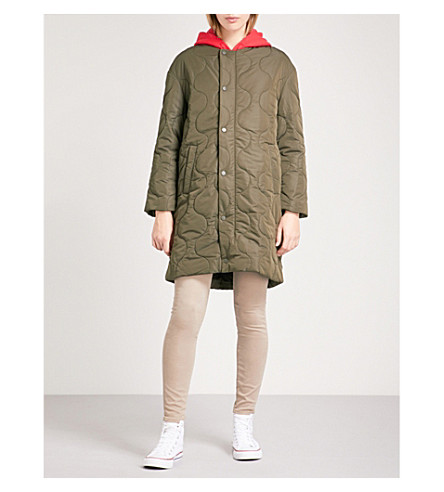 CHOCOOLATE Contrasting hood quilted bomber jacket (Khaki