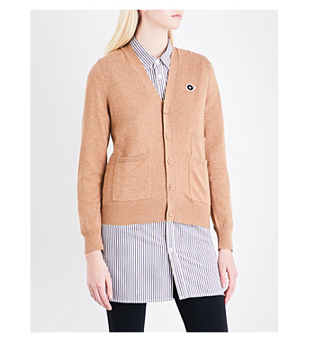 CHOCOOLATE Logo-embroidered cotton-blend cardigan (Beige