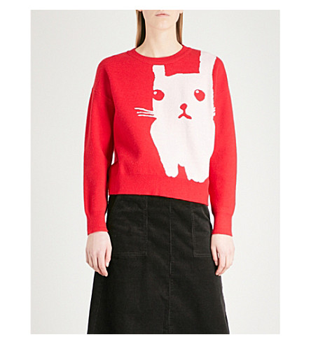 CHOCOOLATE Rabbit knitted jumper (Red