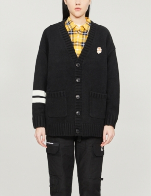 Hamster-patch striped knitted cardigan