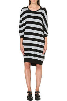 CHOCOOLATE Striped cotton midi dress