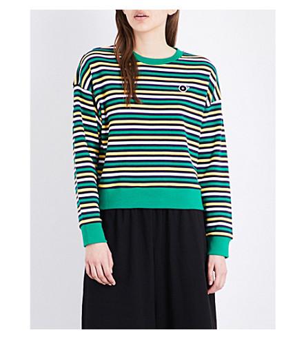 CHOCOOLATE Striped cotton-jersey sweatshirt (Green