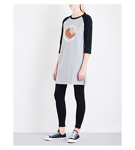 CHOCOOLATE Logo-embroidered cotton-jersey dress (Black