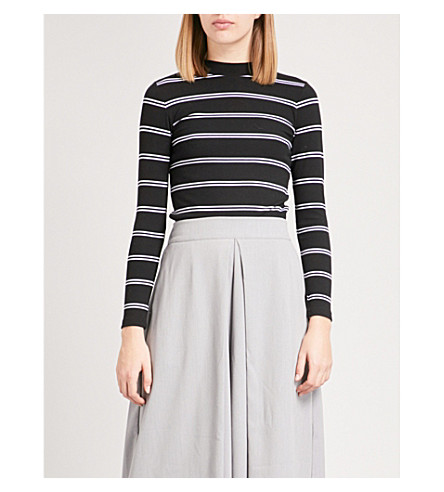 CHOCOOLATE Striped jersey turtleneck top (Black