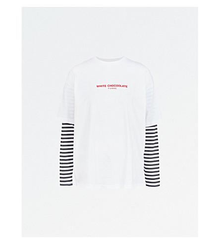 CHOCOOLATE Slogan-print striped-sleeve cotton-jersey top (White