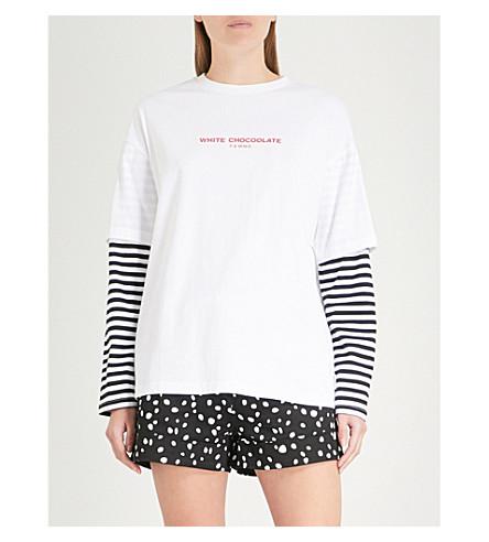 de jersey de manga rayas Top Blanco eslogan con algodón CHOCOOLATE con a EtwHgqTnx