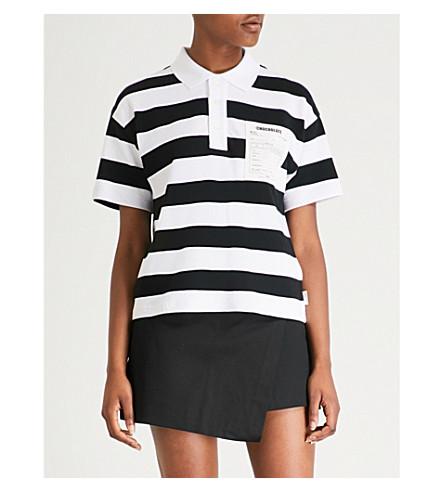 CHOCOOLATE Monochrome striped cotton polo shirt (Black