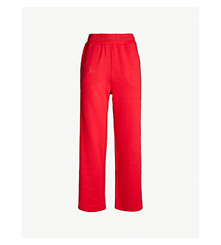CHOCOOLATE Logo-striped cotton-blend jogging bottoms (Red