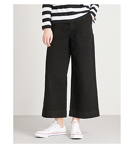 CHOCOOLATE Flared mid-rise cotton-suedette trousers (Black