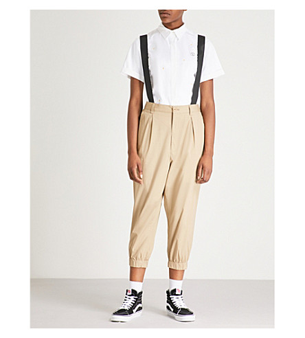 CHOCOOLATE Braces-trimmed tapered cropped stretch-cotton trousers (Tan