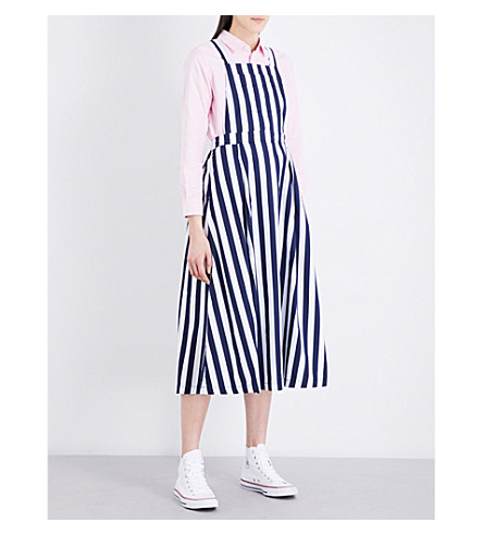 CHOCOOLATE Striped cotton overalls (Navy