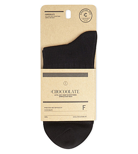 CHOCOOLATE Food badge cotton crew socks (Bkx