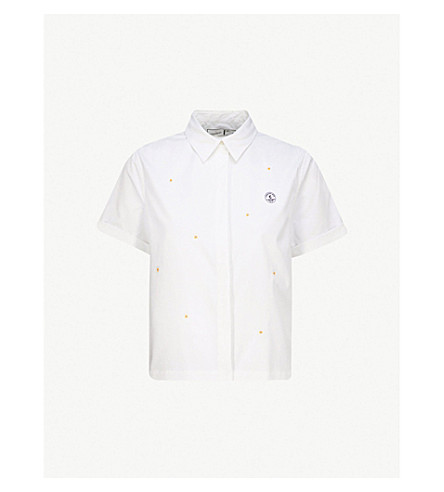 CHOCOOLATE Daisy-embroidered woven shirt (White