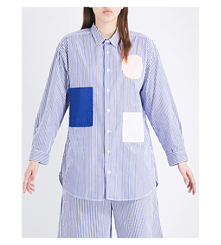 CHOCOOLATE Striped oversized cotton shirt (Blue