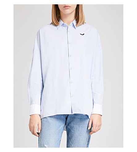 CHOCOOLATE Two-tone embroidered cotton-poplin shirt (Blue