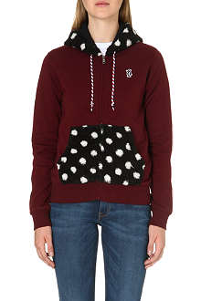 CHOCOOLATE Polka-dot contrast zip-through hoody